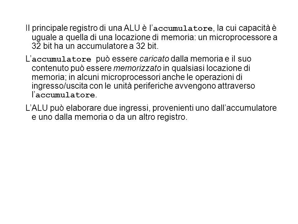 Il principale registro di una ALU è l accumulatore, la cui capacità è uguale a quella di una locazione di memoria: un microprocessore a 32 bit ha un a