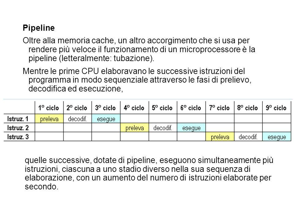 Pipeline Oltre alla memoria cache, un altro accorgimento che si usa per rendere più veloce il funzionamento di un microprocessore è la pipeline (lette
