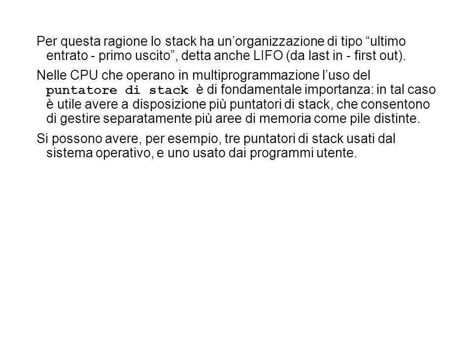Per questa ragione lo stack ha unorganizzazione di tipo ultimo entrato - primo uscito, detta anche LIFO (da last in - first out). Nelle CPU che operan