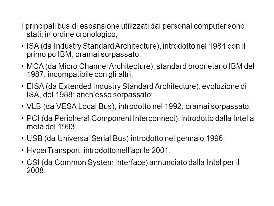 I principali bus di espansione utilizzati dai personal computer sono stati, in ordine cronologico, ISA (da Industry Standard Architecture), introdotto