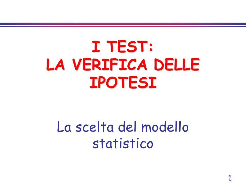 1 I TEST: LA VERIFICA DELLE IPOTESI La scelta del modello statistico