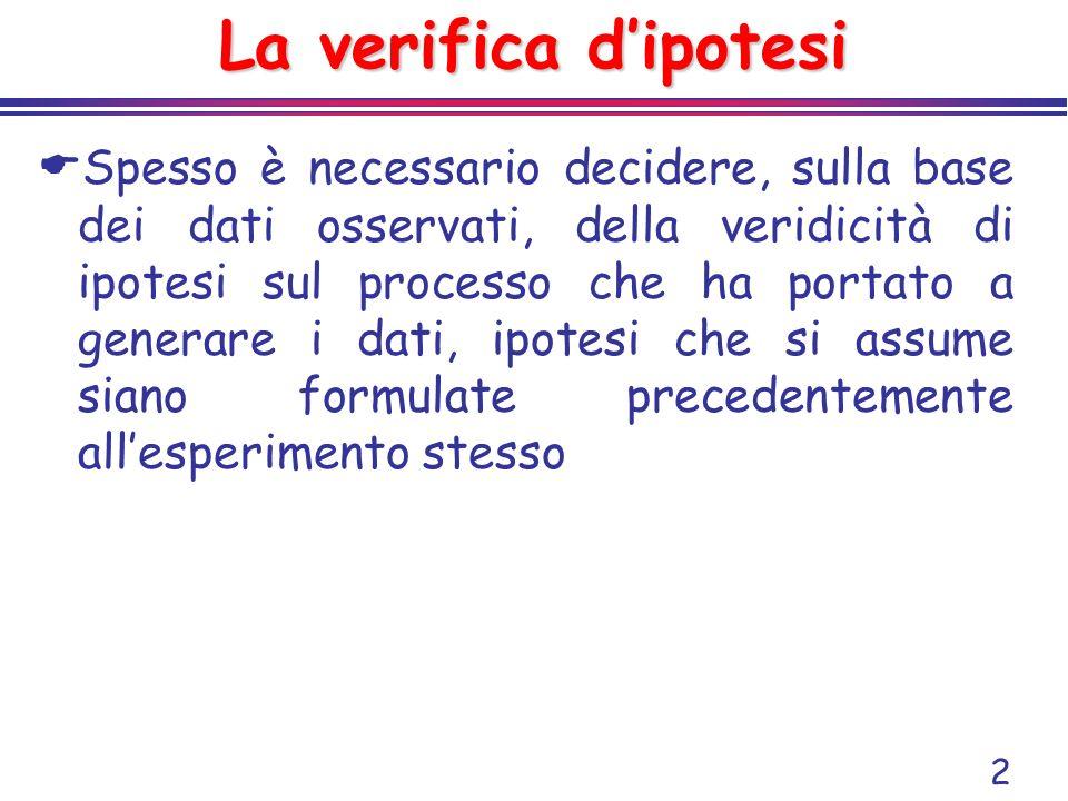 2 La verifica dipotesi Spesso è necessario decidere, sulla base dei dati osservati, della veridicità di ipotesi sul processo che ha portato a generare