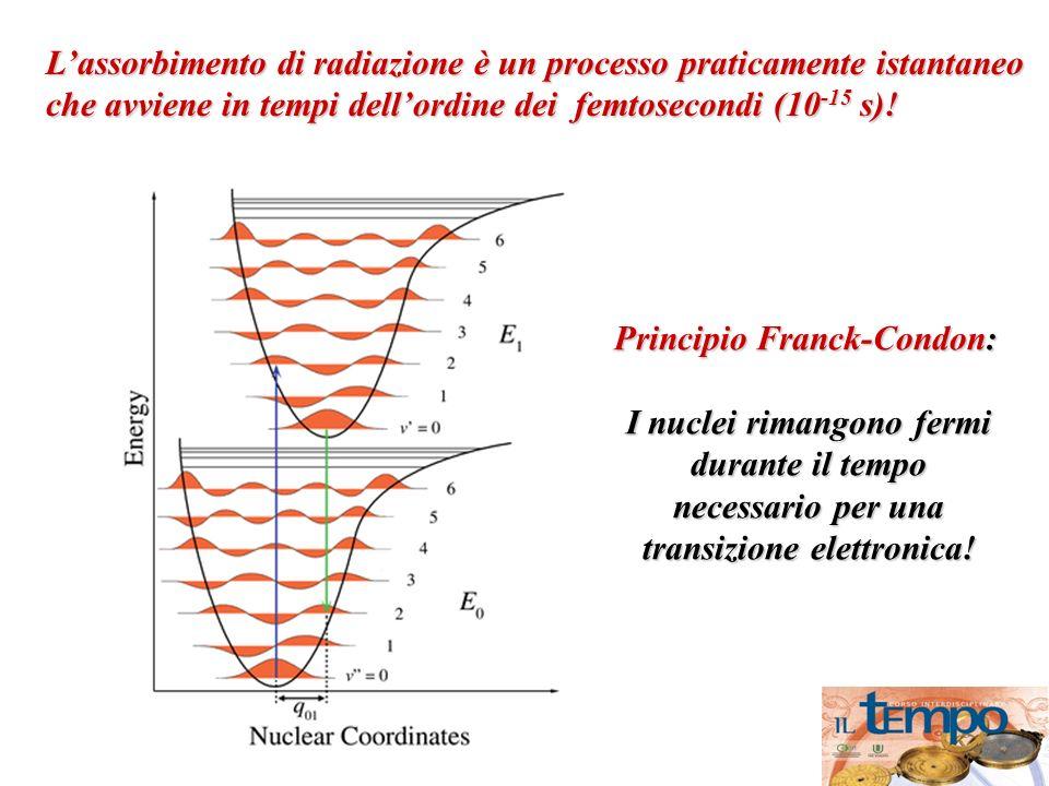 Lassorbimento di radiazione è un processo praticamente istantaneo che avviene in tempi dellordine dei femtosecondi (10 -15 s)! Principio Franck-Condon