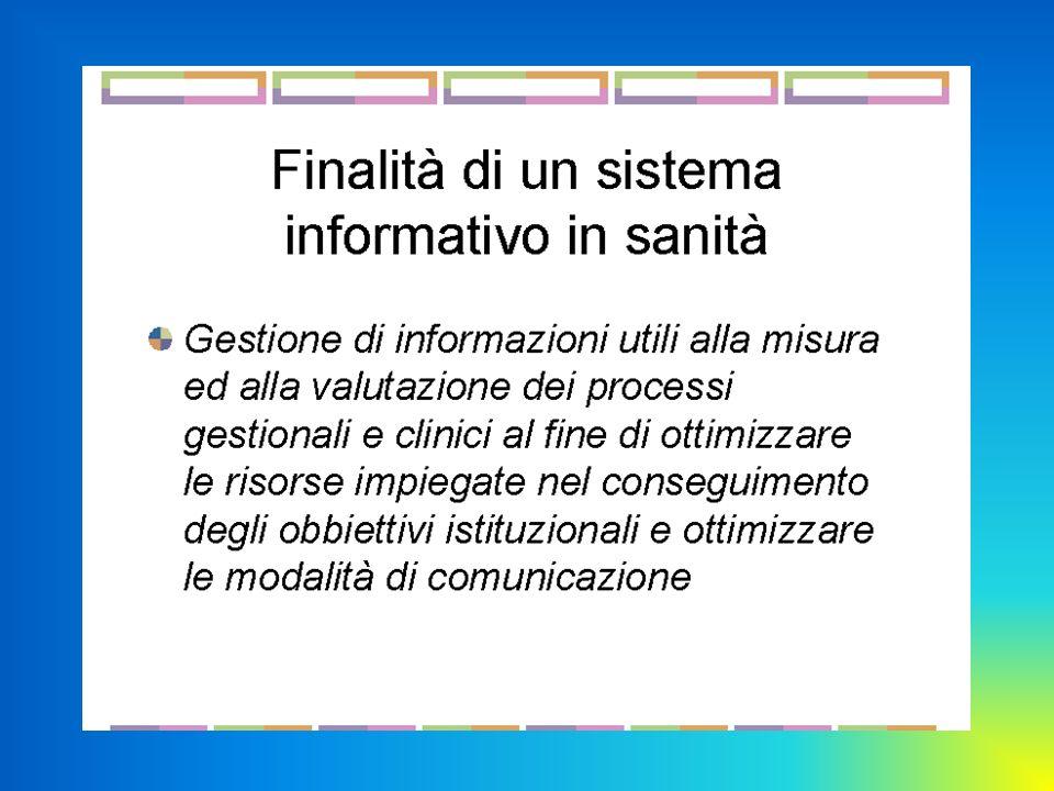 Slide 34 Cartella clinica Elettronica Visione informale – il computer è solo il mezzo Immagazzina grandi quantità di informazione in poco spazio Permette una ricerca più rapida delle informazioni Permette laccesso alle informazioni a più persone anche contemporaneamente