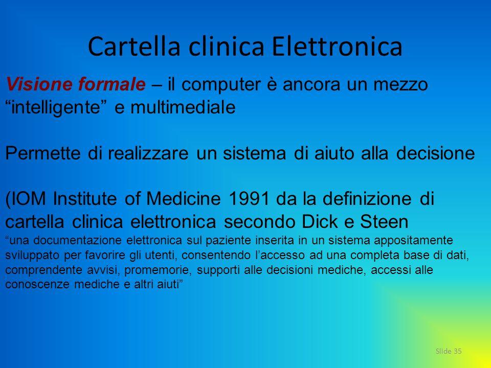 Slide 35 Cartella clinica Elettronica Visione formale – il computer è ancora un mezzo intelligente e multimediale Permette di realizzare un sistema di
