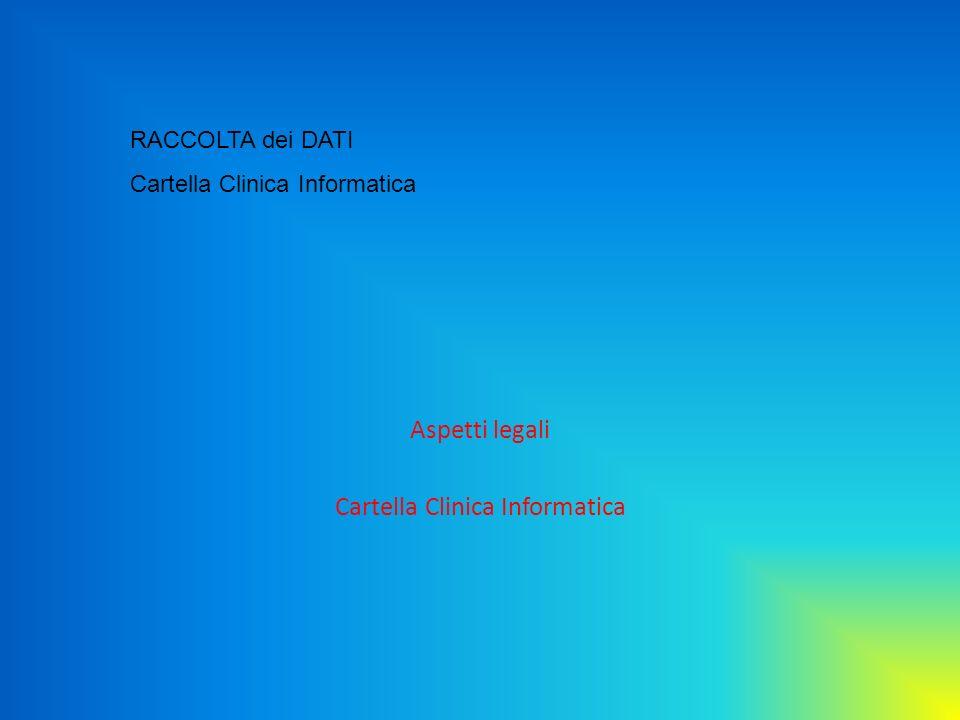 Aspetti legali Cartella Clinica Informatica RACCOLTA dei DATI Cartella Clinica Informatica
