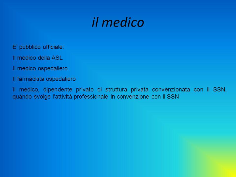il medico E pubblico ufficiale: Il medico della ASL Il medico ospedaliero Il farmacista ospedaliero Il medico, dipendente privato di struttura privata