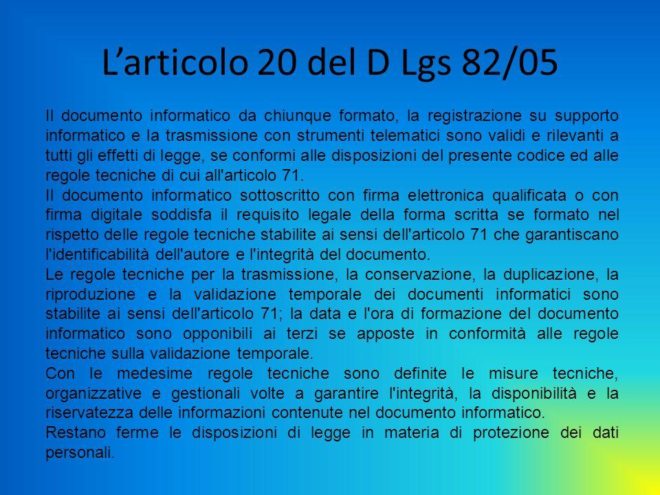 Larticolo 20 del D Lgs 82/05 Il documento informatico da chiunque formato, la registrazione su supporto informatico e la trasmissione con strumenti te