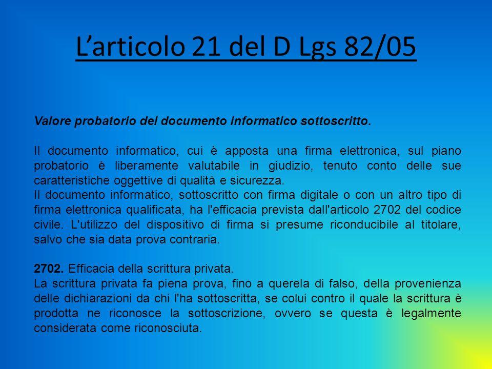 Larticolo 21 del D Lgs 82/05 Valore probatorio del documento informatico sottoscritto. Il documento informatico, cui è apposta una firma elettronica,