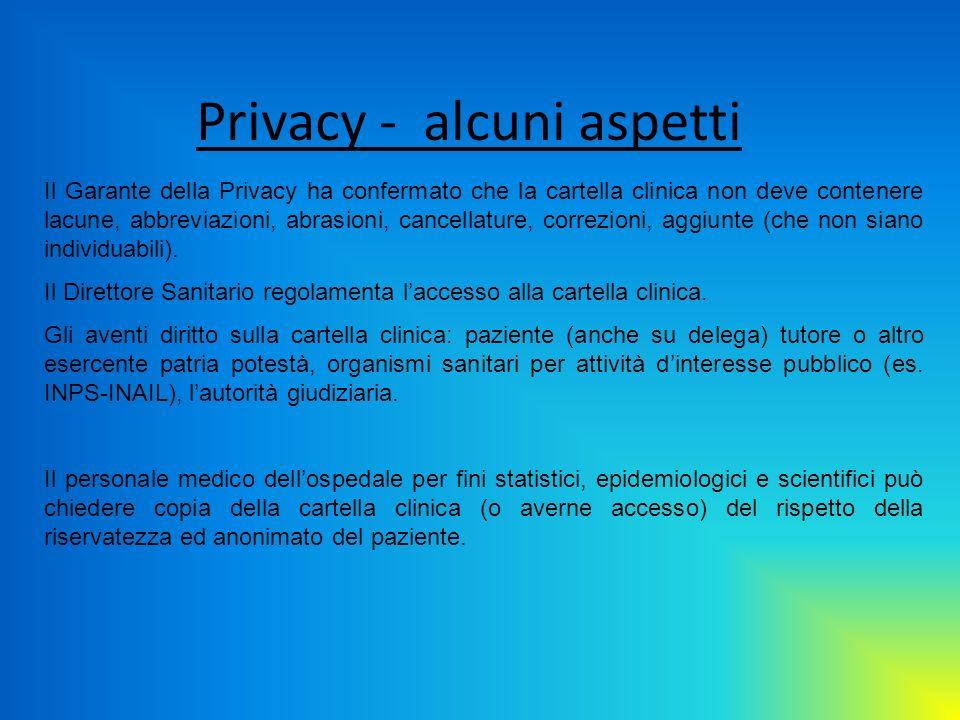 Privacy - alcuni aspetti Il Garante della Privacy ha confermato che la cartella clinica non deve contenere lacune, abbreviazioni, abrasioni, cancellat