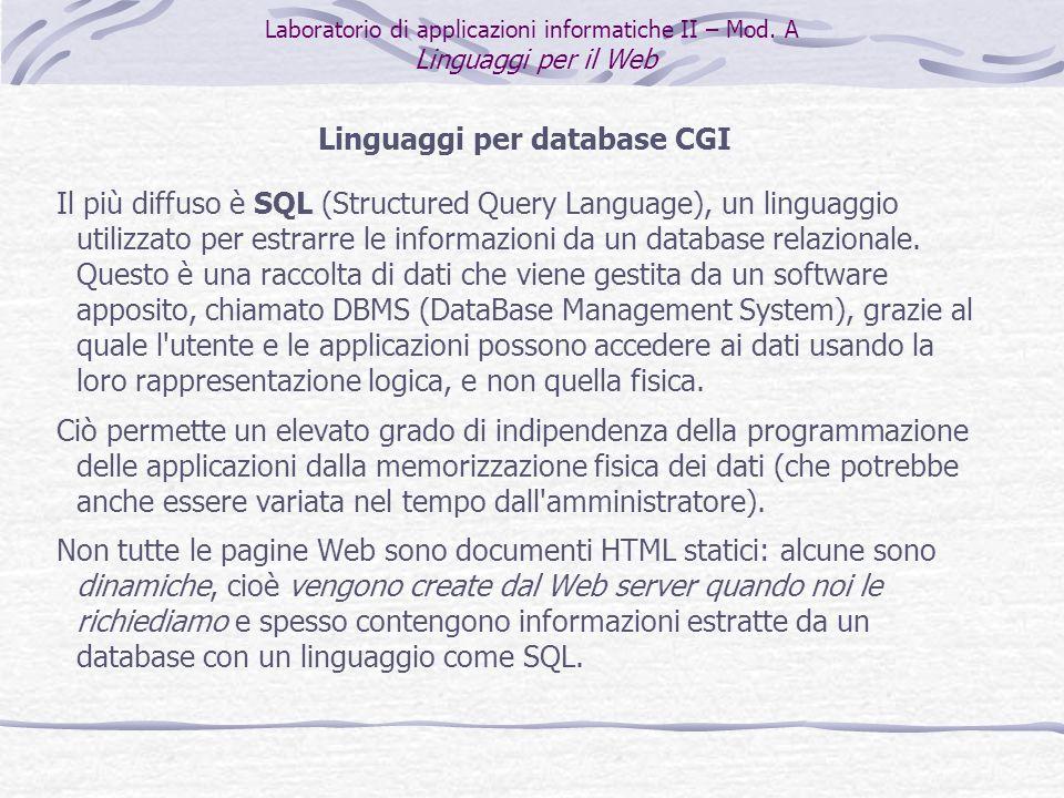 Linguaggi per database CGI Il più diffuso è SQL (Structured Query Language), un linguaggio utilizzato per estrarre le informazioni da un database relazionale.