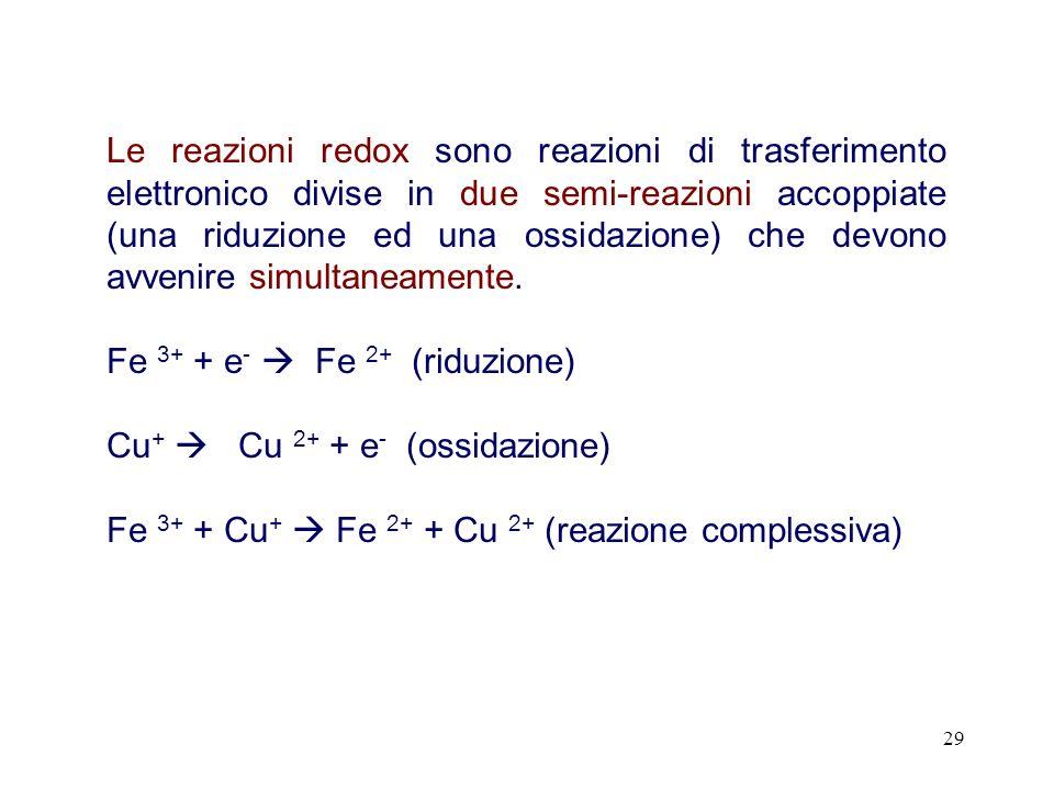 29 Le reazioni redox sono reazioni di trasferimento elettronico divise in due semi-reazioni accoppiate (una riduzione ed una ossidazione) che devono avvenire simultaneamente.