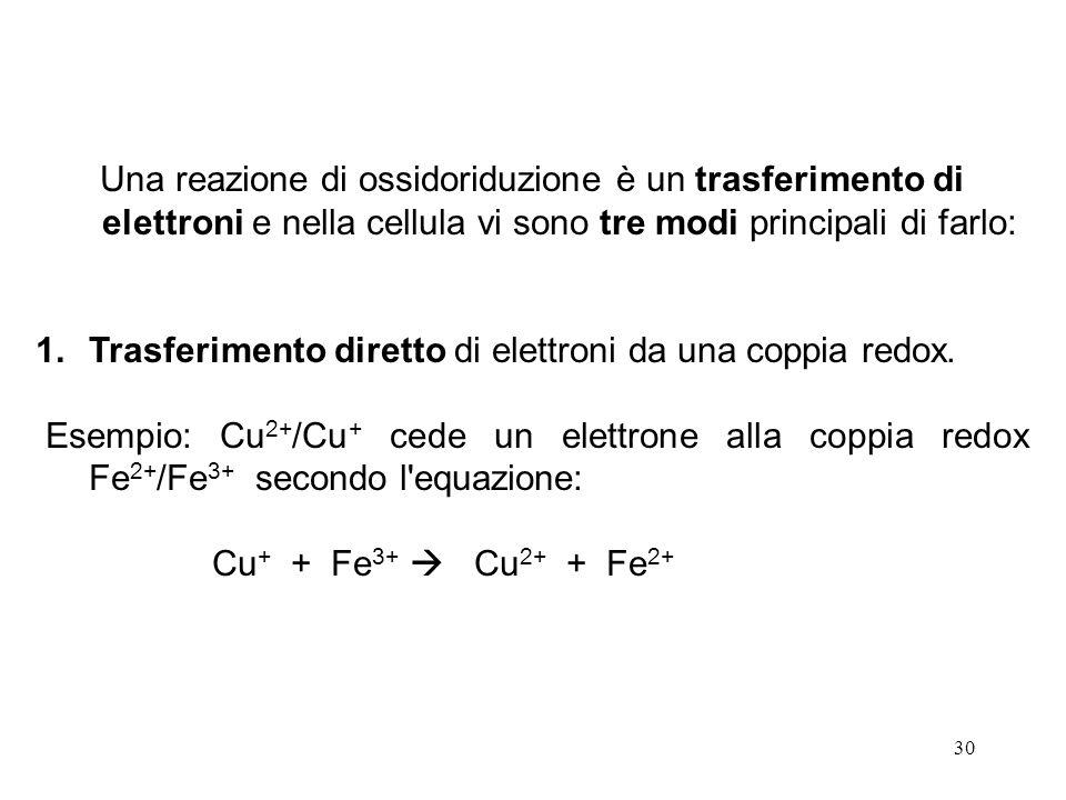 30 Una reazione di ossidoriduzione è un trasferimento di elettroni e nella cellula vi sono tre modi principali di farlo: 1.Trasferimento diretto di elettroni da una coppia redox.