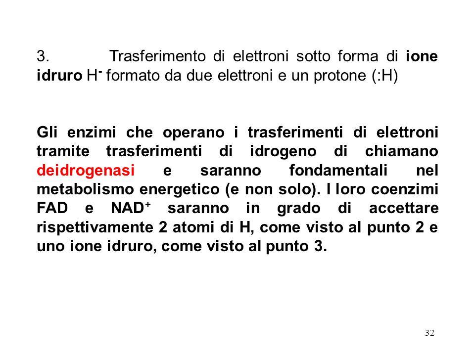 32 3. Trasferimento di elettroni sotto forma di ione idruro H - formato da due elettroni e un protone (:H) Gli enzimi che operano i trasferimenti di e