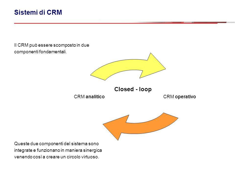 CRM operativo CRM analitico Sistemi di CRM Il CRM può essere scomposto in due componenti fondamentali. Queste due componenti del sistema sono integrat