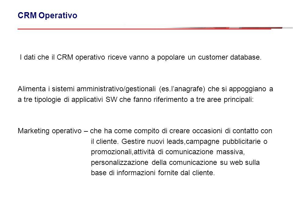 CRM Operativo I dati che il CRM operativo riceve vanno a popolare un customer database. Alimenta i sistemi amministrativo/gestionali (es.lanagrafe) ch