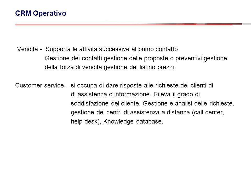 CRM Operativo Vendita - Supporta le attività successive al primo contatto. Gestione dei contatti,gestione delle proposte o preventivi,gestione della f