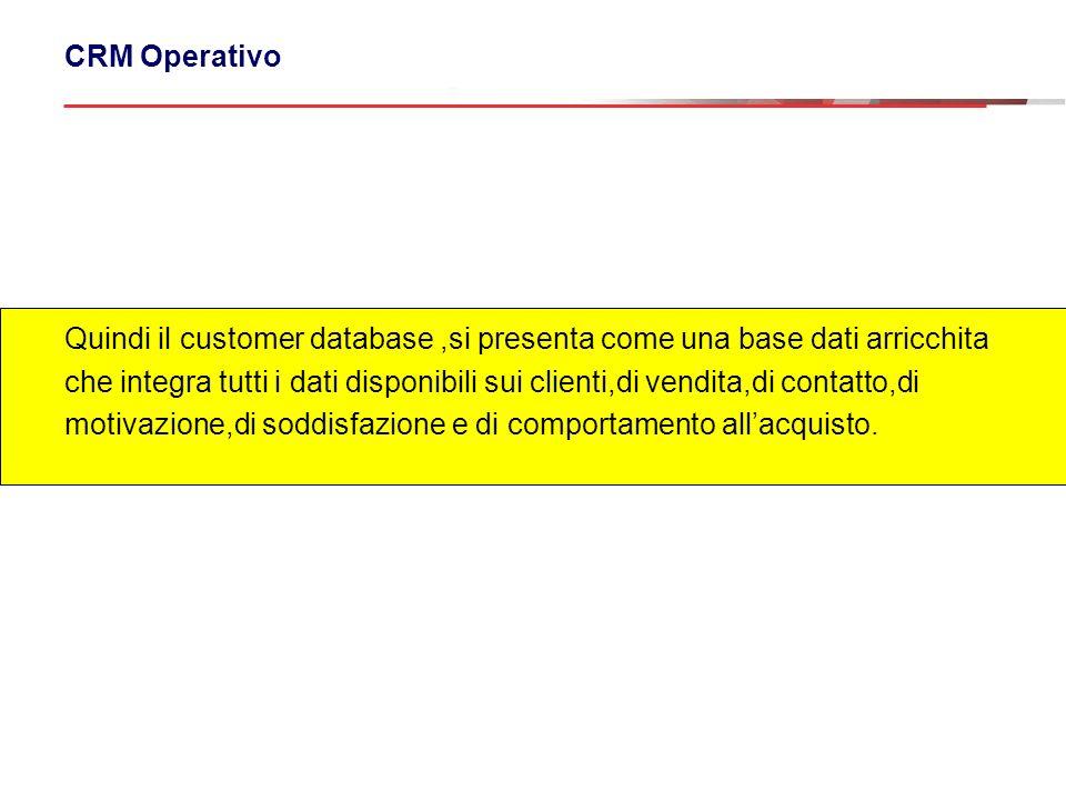 CRM Operativo Quindi il customer database,si presenta come una base dati arricchita che integra tutti i dati disponibili sui clienti,di vendita,di con