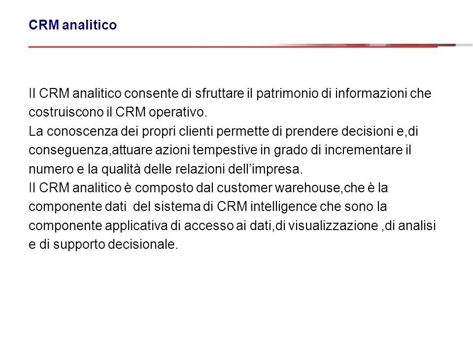 CRM analitico Il CRM analitico consente di sfruttare il patrimonio di informazioni che costruiscono il CRM operativo. La conoscenza dei propri clienti