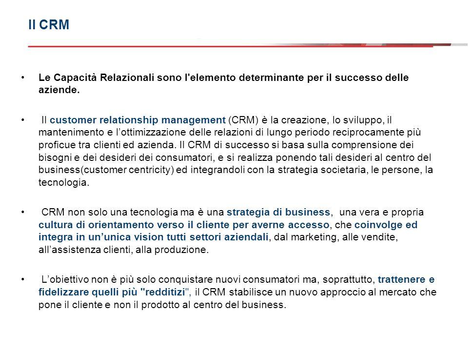 Dobbiamo quindi considerare il CRM come approccio integrato tra: Strumenti di Marketing (MKT relazionale,One to One,Customer Value Management) Sistemi informativi (soluzioni SW e HW,tecnologie di contatto con i clienti) Organizzazione (processi, skill,formazione)