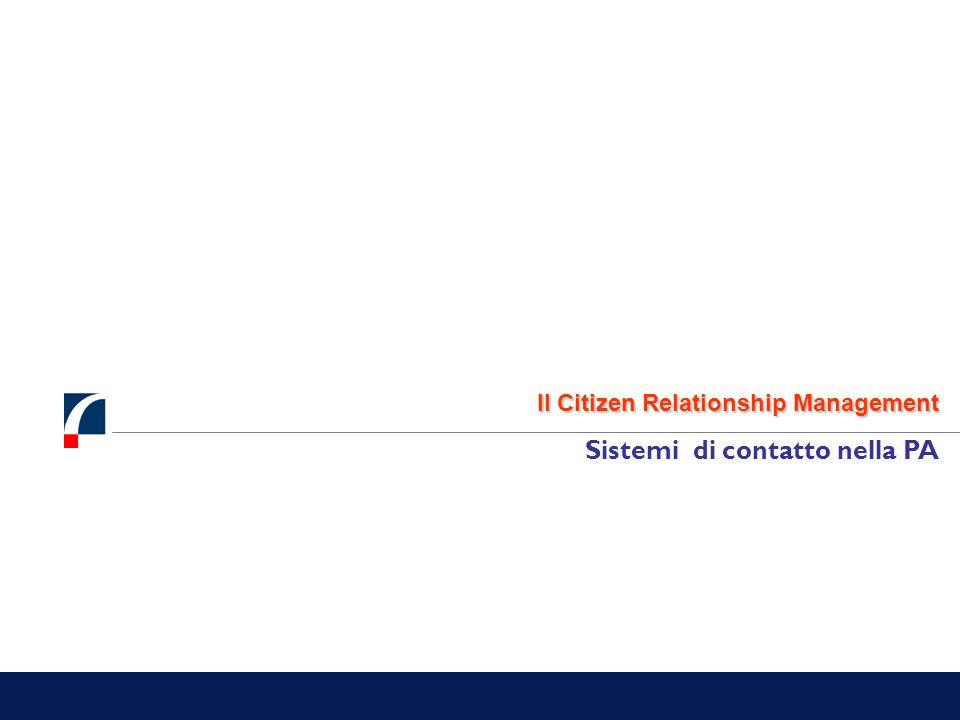 Il Citizen Relationship Management Sistemi di contatto nella PA