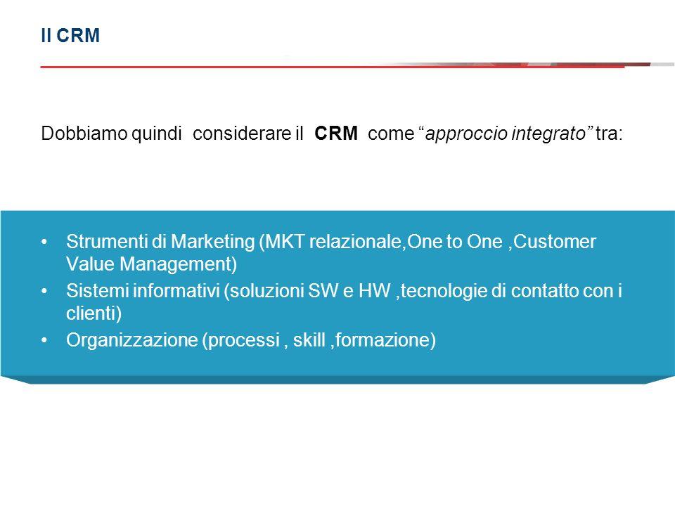 Dobbiamo quindi considerare il CRM come approccio integrato tra: Strumenti di Marketing (MKT relazionale,One to One,Customer Value Management) Sistemi