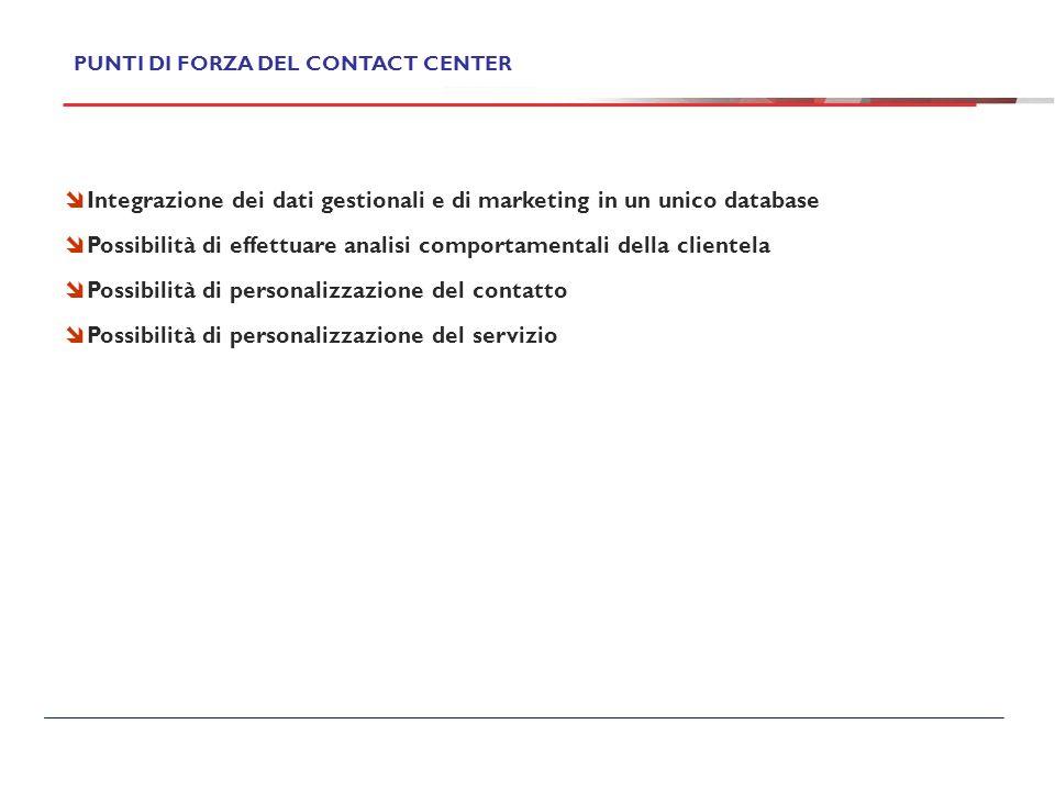 Integrazione dei dati gestionali e di marketing in un unico database Possibilità di effettuare analisi comportamentali della clientela Possibilità di