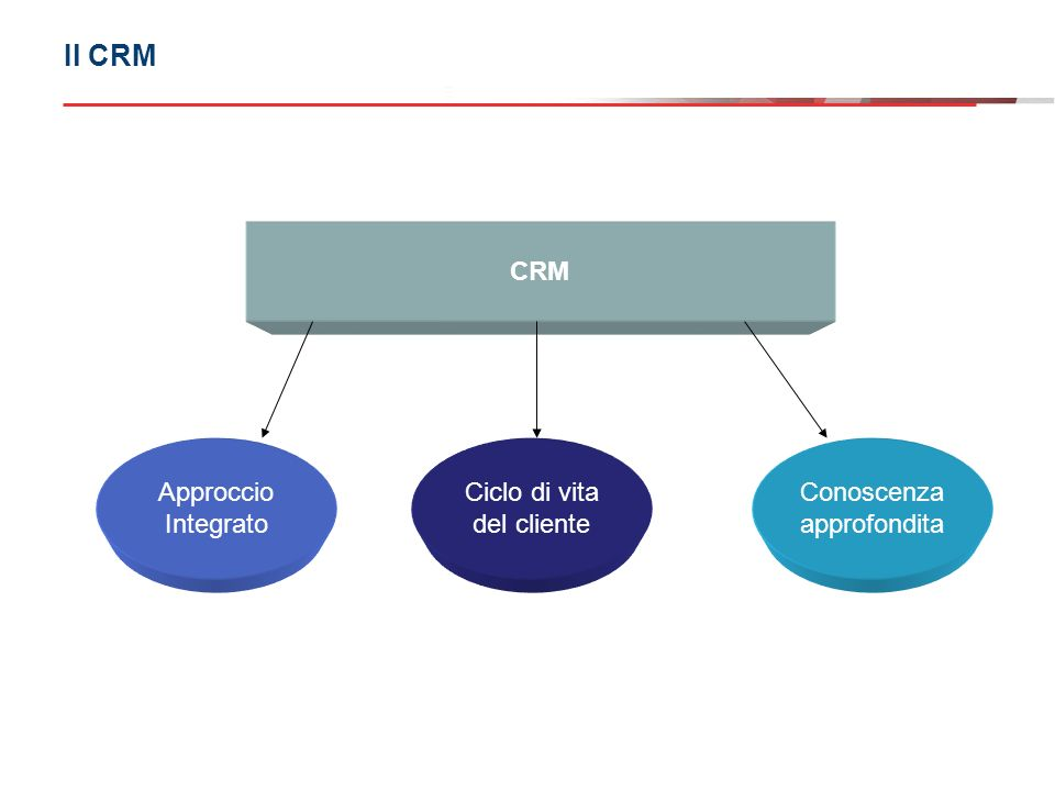 Il CRM CRM Approccio Integrato Ciclo di vita del cliente Conoscenza approfondita