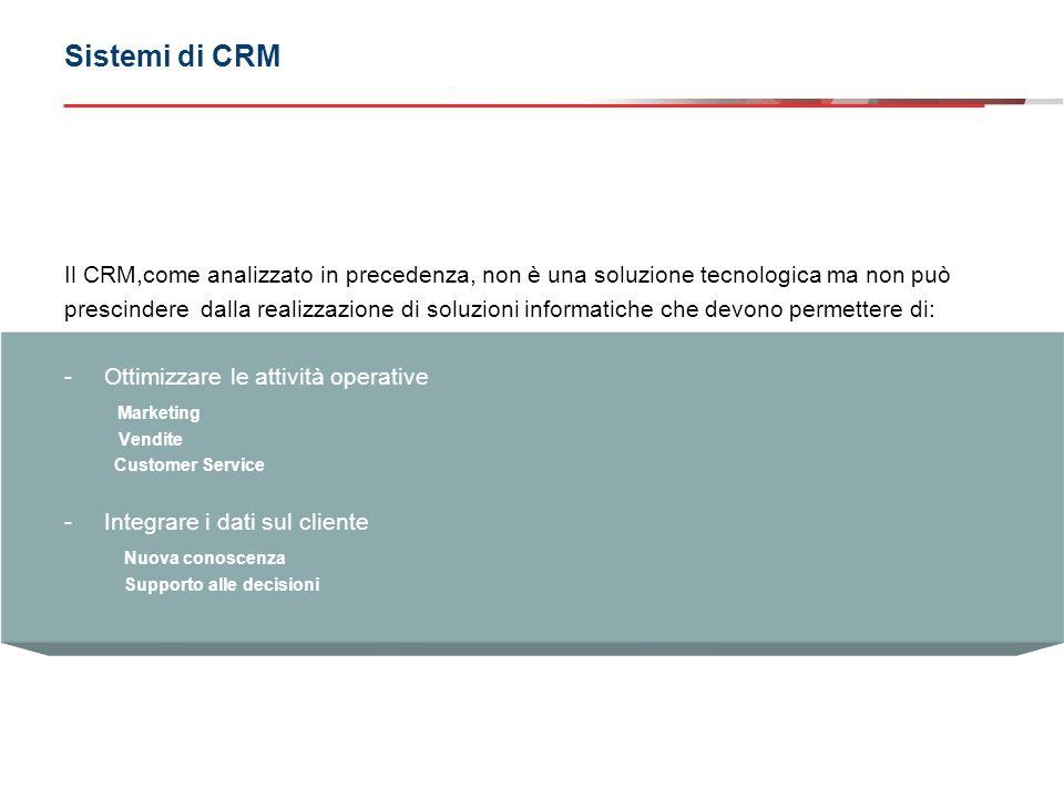 CRM operativo CRM analitico Sistemi di CRM Il CRM può essere scomposto in due componenti fondamentali.