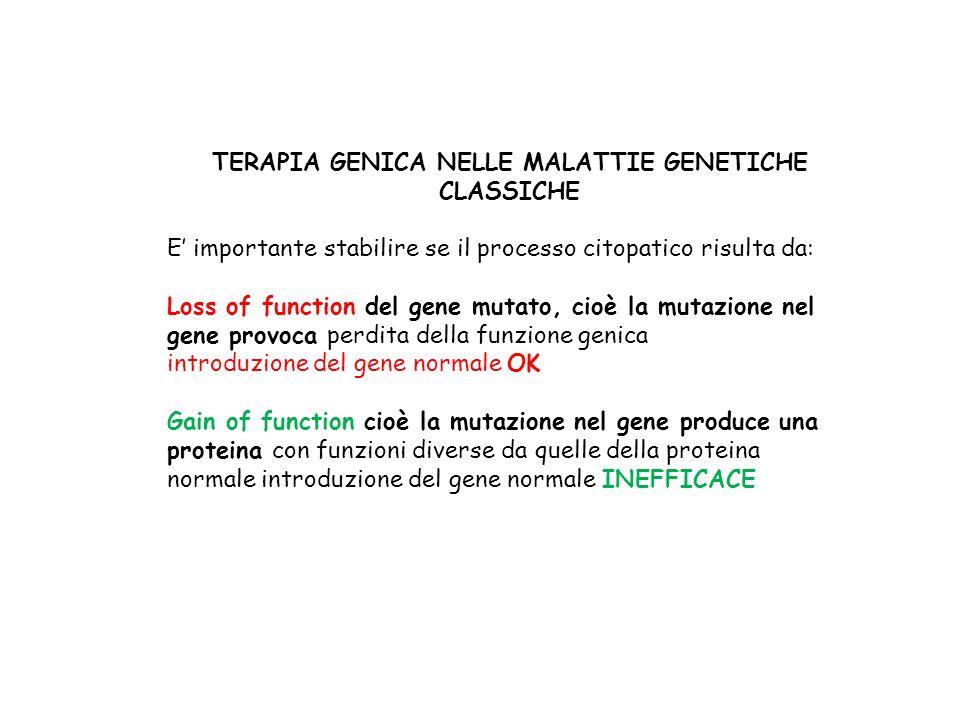 TERAPIA GENICA NELLE MALATTIE GENETICHE CLASSICHE E importante stabilire se il processo citopatico risulta da: Loss of function del gene mutato, cioè