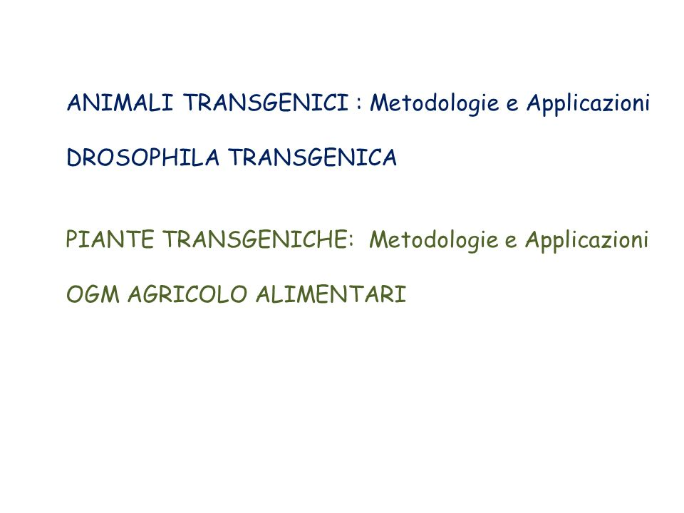 ANIMALI TRANSGENICI : Metodologie e Applicazioni DROSOPHILA TRANSGENICA PIANTE TRANSGENICHE: Metodologie e Applicazioni OGM AGRICOLO ALIMENTARI
