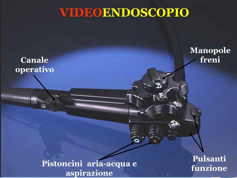 VIDEOENDOSCOPIO Canale operativo Pistoncini aria-acqua e aspirazione Pulsanti funzione Manopole freni