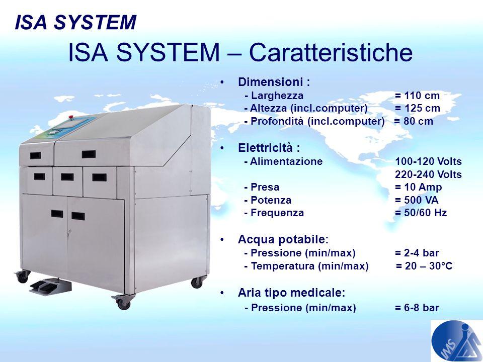 ISA SYSTEM – Caratteristiche Dimensioni : - Larghezza = 110 cm - Altezza (incl.computer) = 125 cm - Profondità (incl.computer) = 80 cm Elettricità : -