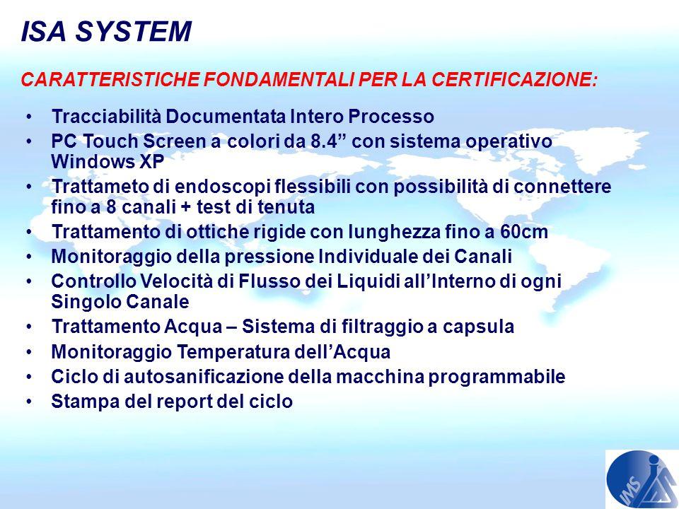 CARATTERISTICHE FONDAMENTALI PER LA CERTIFICAZIONE: Tracciabilità Documentata Intero Processo PC Touch Screen a colori da 8.4 con sistema operativo Wi