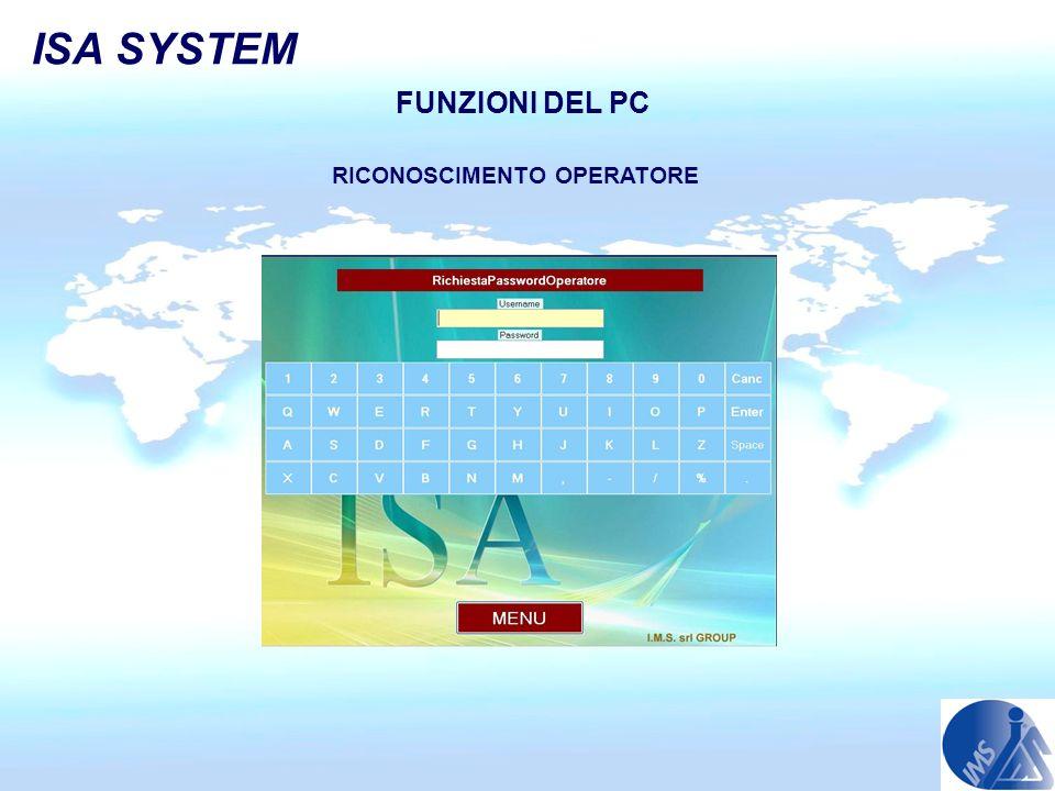 FUNZIONI DEL PC RICONOSCIMENTO OPERATORE ISA SYSTEM