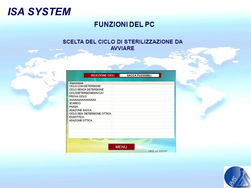 ISA SYSTEM FUNZIONI DEL PC SCELTA DEL CICLO DI STERILIZZAZIONE DA AVVIARE