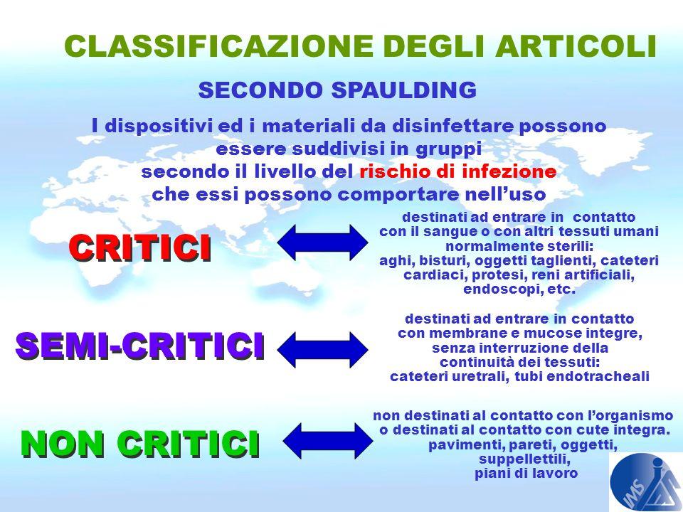 CLASSIFICAZIONE DEGLI ARTICOLI SECONDO SPAULDING I dispositivi ed i materiali da disinfettare possono essere suddivisi in gruppi secondo il livello de