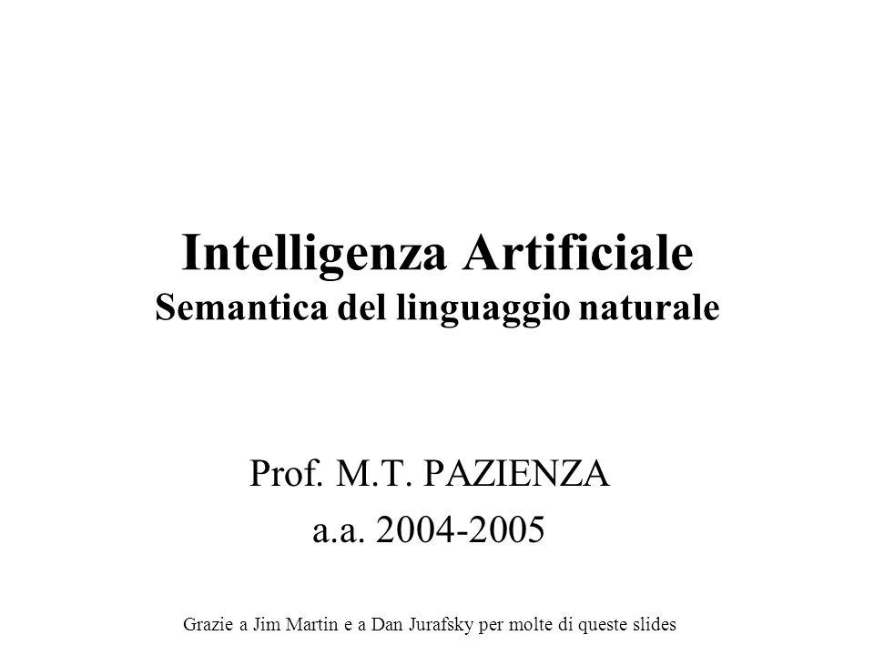 Intelligenza Artificiale Semantica del linguaggio naturale Prof. M.T. PAZIENZA a.a. 2004-2005 Grazie a Jim Martin e a Dan Jurafsky per molte di queste