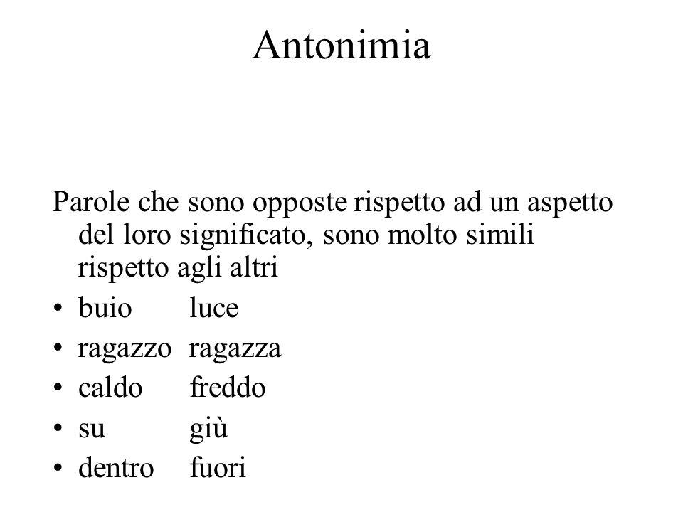 Antonimia Parole che sono opposte rispetto ad un aspetto del loro significato, sono molto simili rispetto agli altri buioluce ragazzoragazza caldofred