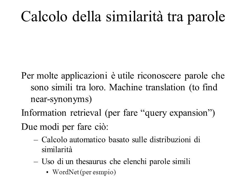 Calcolo della similarità tra parole Per molte applicazioni è utile riconoscere parole che sono simili tra loro. Machine translation (to find near-syno