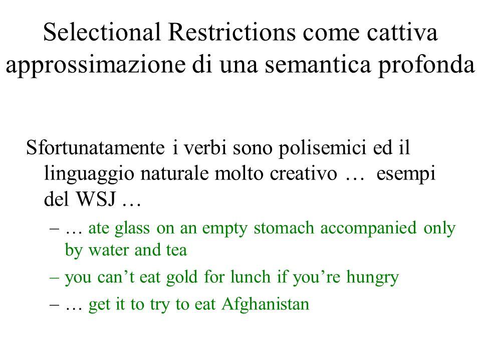 Selectional Restrictions come cattiva approssimazione di una semantica profonda Sfortunatamente i verbi sono polisemici ed il linguaggio naturale molt