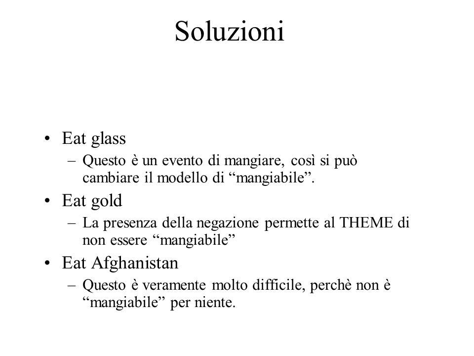 Soluzioni Eat glass –Questo è un evento di mangiare, così si può cambiare il modello di mangiabile. Eat gold –La presenza della negazione permette al