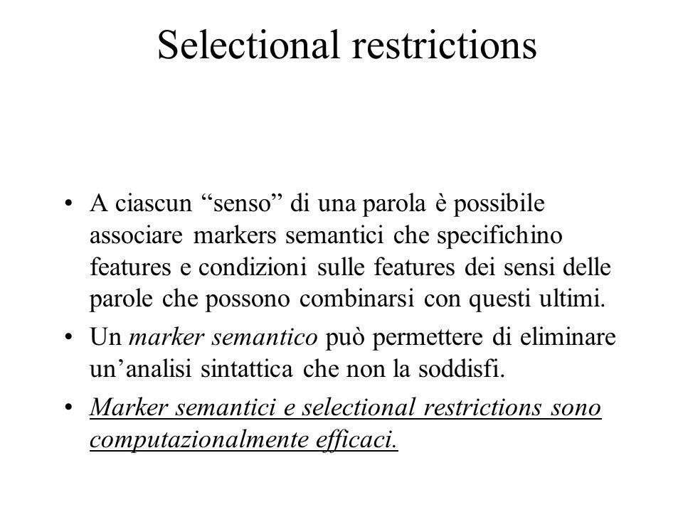 Selectional restrictions A ciascun senso di una parola è possibile associare markers semantici che specifichino features e condizioni sulle features d