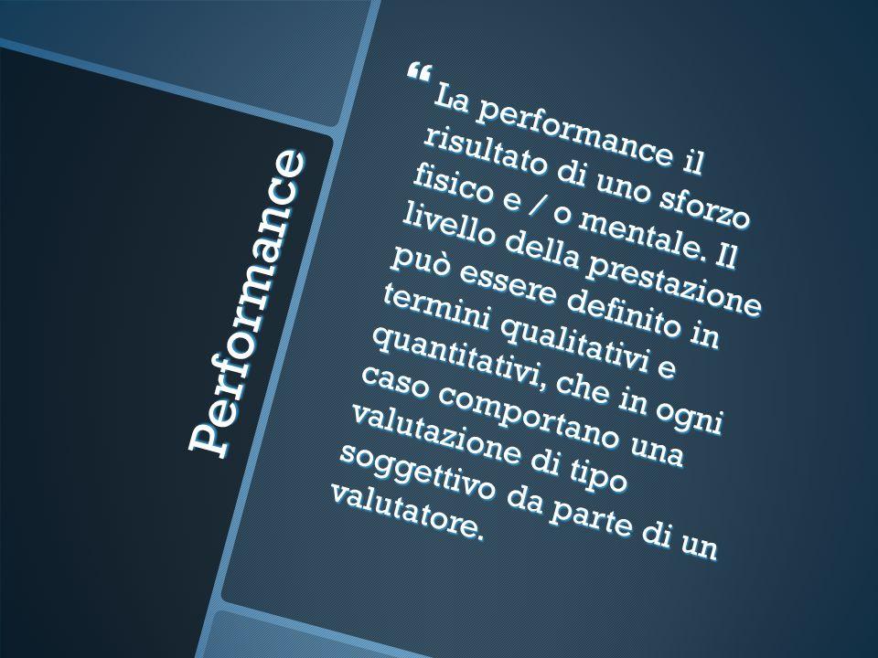 Performance La performance, dato un certo contesto è funzione di due fattori: La performance, dato un certo contesto è funzione di due fattori: Motivazione; Motivazione; Capacità.