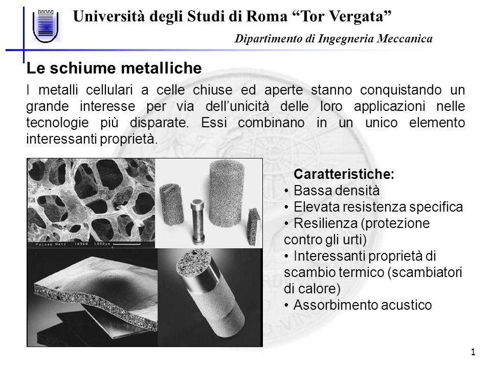 Università degli Studi di Roma Tor Vergata Dipartimento di Ingegneria Meccanica 1 I metalli cellulari a celle chiuse ed aperte stanno conquistando un grande interesse per via dellunicità delle loro applicazioni nelle tecnologie più disparate.