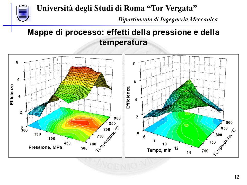 Università degli Studi di Roma Tor Vergata Dipartimento di Ingegneria Meccanica 12 Mappe di processo: effetti della pressione e della temperatura