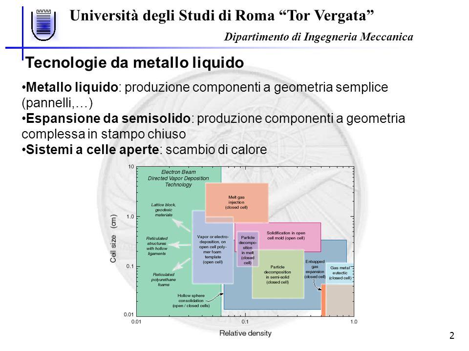 Università degli Studi di Roma Tor Vergata Dipartimento di Ingegneria Meccanica 2 Metallo liquido: produzione componenti a geometria semplice (pannell