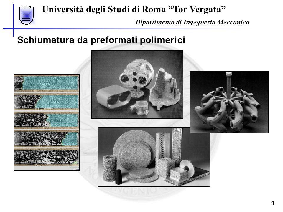 Università degli Studi di Roma Tor Vergata Dipartimento di Ingegneria Meccanica 4 Schiumatura da preformati polimerici