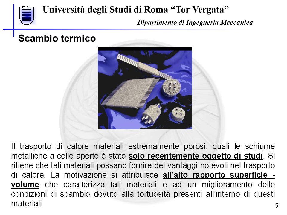 Università degli Studi di Roma Tor Vergata Dipartimento di Ingegneria Meccanica 5 Scambio termico Il trasporto di calore materiali estremamente porosi, quali le schiume metalliche a celle aperte è stato solo recentemente oggetto di studi.