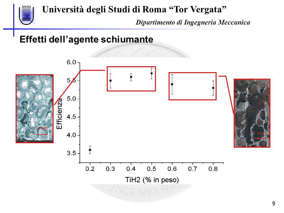 Università degli Studi di Roma Tor Vergata Dipartimento di Ingegneria Meccanica 9 Effetti dellagente schiumante